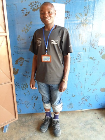The first porter to receive one of Karen's 1,200 pairs of donated Smart Wool socks.