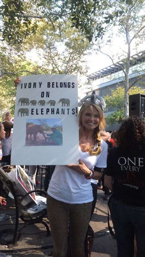 Christie Brinkley shows her support for elephants at the New York march.